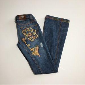 Antik Denim Distressed Embroidered Jean Size 24